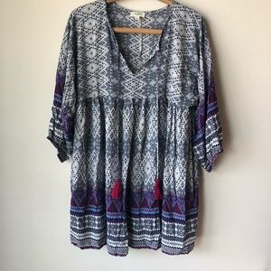 Umgee tunic Aztec print purple and blue size large